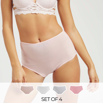 Set of 4 - Solid Full Briefs with Elasticated Waistband