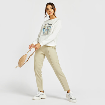 Solid Ankle Length Pants with Drawstring Waistband