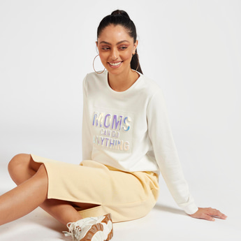 Text Embossed Sweatshirt with Round Neck and Long Sleeves