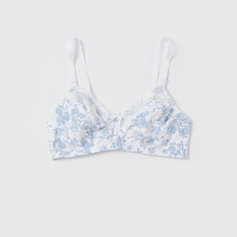 Floral Print Non-Wired Non-Padded Bra with Detachable Straps