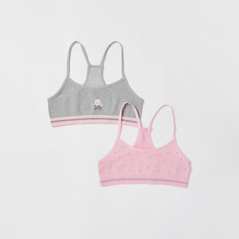 Set of 2 - Graphic Print Sports Bra with Scoop Neck and Racerback