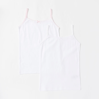 Set of 2 - Solid Sleeveless Vest with Scoop Neck and Bow Accent