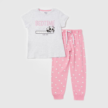 Printed Round Neck T-shirt and Full Length Jogger Set