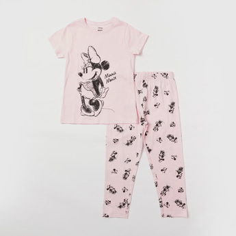 Minnie Mouse Print T-shirt and Pyjama Set