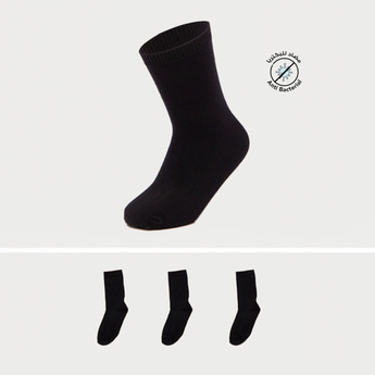 Pack of 3 - Solid Crew Length Socks with Elasticised Hem