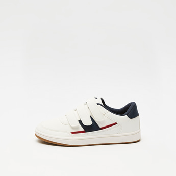 Solid Sneakers with Hook and Loop Closure