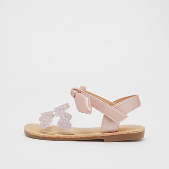 Heart Glitter Accent Sandals with Hook and Loop Closure