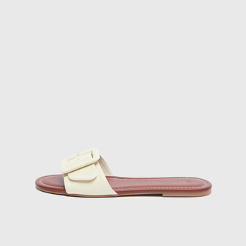 Textured Slip-On Sandals with Buckle Accent