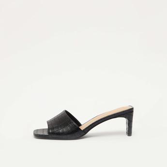 Textured Mule Heel Sandals