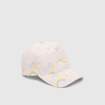 All-Over Graphic Print Cotton Cap with Hook and Loop Closure
