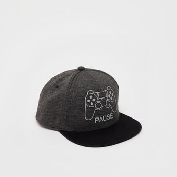 Graphic Print Cap with Snap Closure