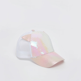Sequin Detail Cap with Snap Closure