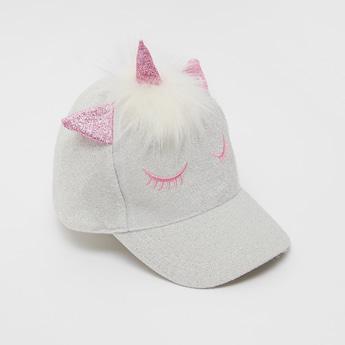 Plush Applique Detail Unicorn Cap with Hook and Loop Closure