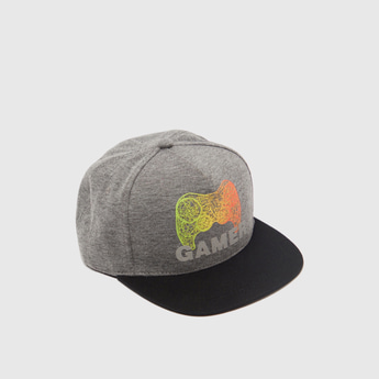 Graphic Print Cap with Hook and Loop Closure