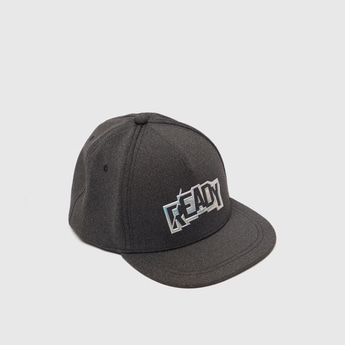 Text Embossed Print Cap with Snap Closure