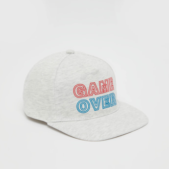 Typographic Print Cap with Hook and Loop Closure