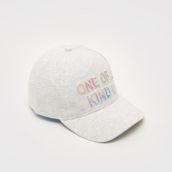Text Embossed Cap with Hook and Loop Closure