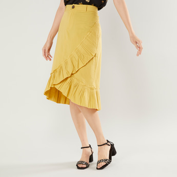 Asymmetric Midi Skirt with Belt Loops and Frill Detail
