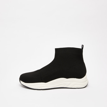 Textured High Top Slip On Shoes with Pull Tab