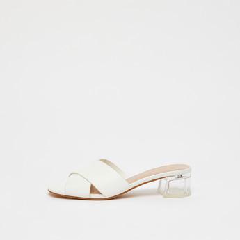 Cross Strap Sandals with Block Heels