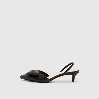 Solid Sandals with Kitten Heels and Bow Accent