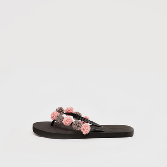 Floral Applique Detail Flip Flops