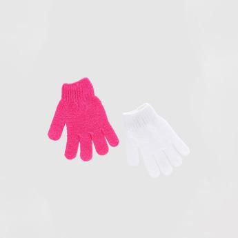 Textured 4-Piece Bath Glove Set