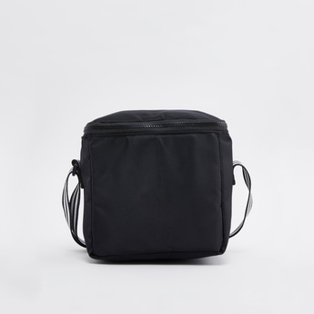 Solid Lunch Bag with Striped Shoulder Strap