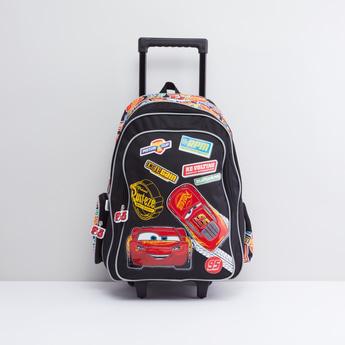 حقيبة ظهر بعجلات بمقبض قابل للسحب بطبعات سيارات