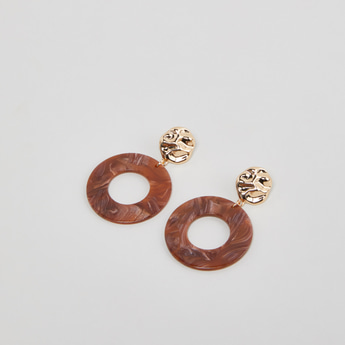 Textured Round Earrings with Push Back Closure