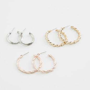 Set of 3 - Hoop Earrings with Pushback Closure