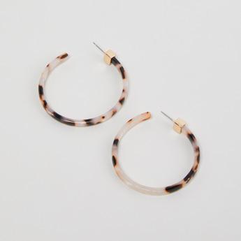 Printed Hoop Earrings with Pushback Closure