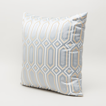 Geometric Embroidered Filled Cushion