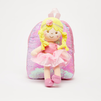 Sequin Detail Backpack with Adjustable Straps and Detachable Doll