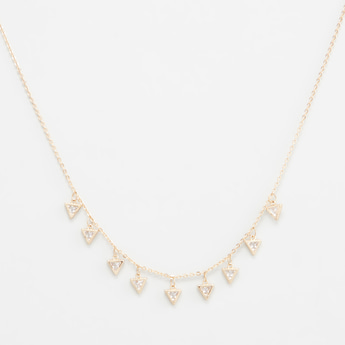 Stone Studded Choker with Triangular Drops