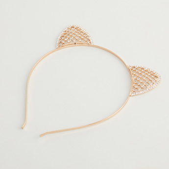 Embellished Headband with Cat Ear Detail