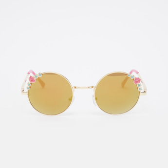Flower Applique Detail Round Sunglasses with Nose Pads