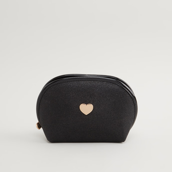 Textured Pouch with Metal Heart Accent