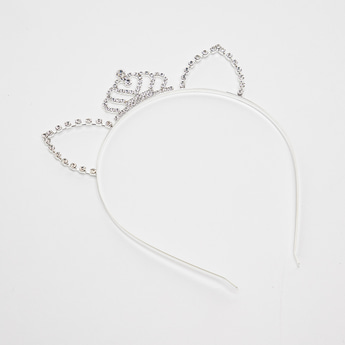 Embellished Headband with Crown and Cat Ear Detail