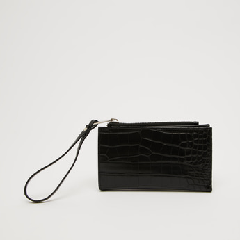 Textured Bi-Fold Wallet with Button Closure