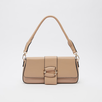 Solid Hand Bag with Hoop Accent