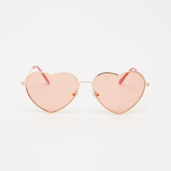 Full Rim Heart Shaped Sunglasses with Nose Pads and Temple Tips