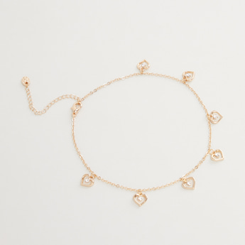 Studded Charm Anklet with Lobster Clasp
