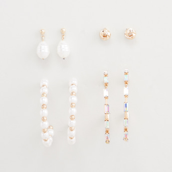 Set of 4 - Assorted Dangling Earrings with Pushback Closure
