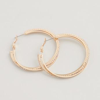 Studded Dangling Earrings with Hinged Hoop