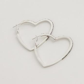 حلقان بتصميم قلب مرصّعة