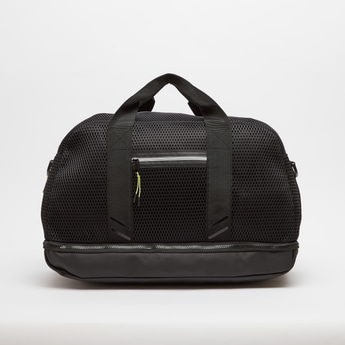 Textured Duffel Bag with Twin Handles and Zip Closure