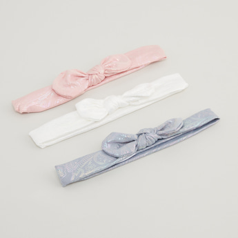 Set of 3 - Textured Headband with Bow Applique Detail