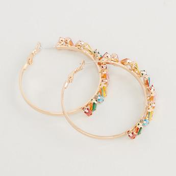 Embellished Dangling Earrings with Hinged Hoop