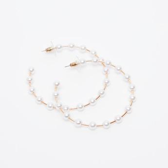 Pearl Detail Hoop Earrings with Pushback Closure